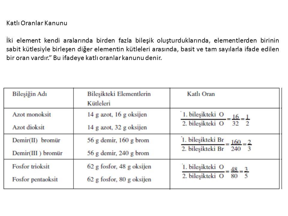 Katlı Oranlar Kanunu İki element kendi aralarında birden fazla bileşik oluşturduklarında, elementlerden birinin sabit kütlesiyle birleşen diğer elementin kütleleri arasında, basit ve tam sayılarla ifade edilen bir oran vardır. Bu ifadeye katlı oranlar kanunu denir.