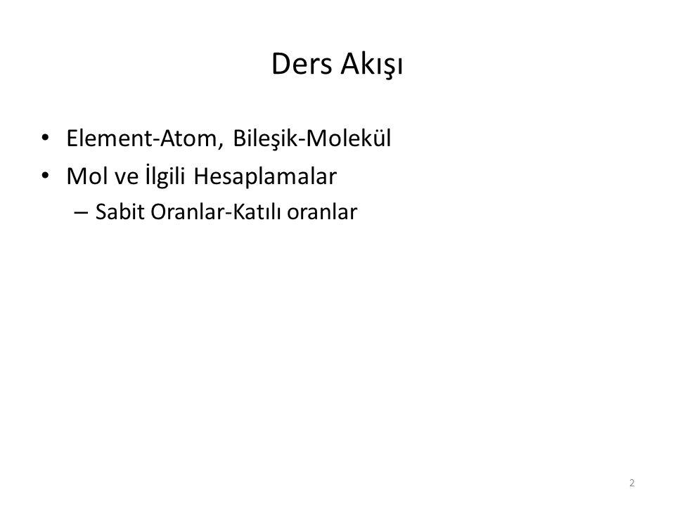 Ders Akışı Element-Atom, Bileşik-Molekül Mol ve İlgili Hesaplamalar – Sabit Oranlar-Katılı oranlar 2