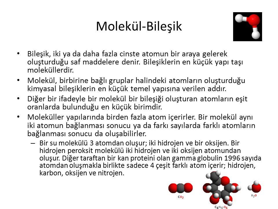 Molekül-Bileşik Bileşik, iki ya da daha fazla cinste atomun bir araya gelerek oluşturduğu saf maddelere denir.