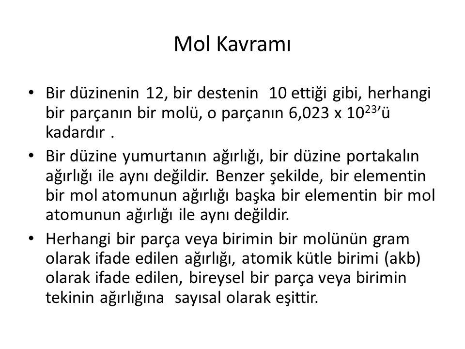 Mol Kavramı Bir düzinenin 12, bir destenin 10 ettiği gibi, herhangi bir parçanın bir molü, o parçanın 6,023 x 10 23 'ü kadardır.