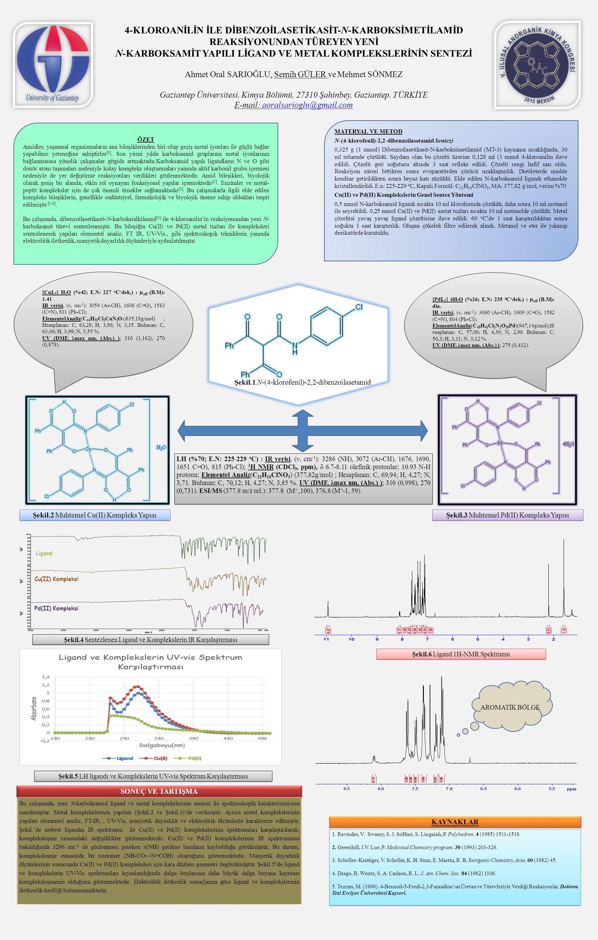KAYNAKLAR 1. Ravinder, V. Swamy, S. J. SriHari, S. Lingaiah, P. Polyhedron. 4 (1985) 1511-1518. 2. Greenhill, J.V. Lue, P. Medicinal Chemistry program