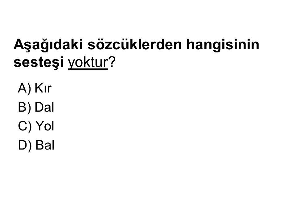 Aşağıdaki sözcüklerden hangisinin sesteşi yoktur? A) Kır B) Dal C) Yol D) Bal