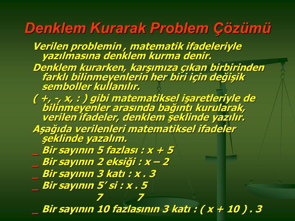 Denklem Kurarak Problem Çözümü Verilen problemin, matematik ifadeleriyle yazılmasına denklem kurma denir.