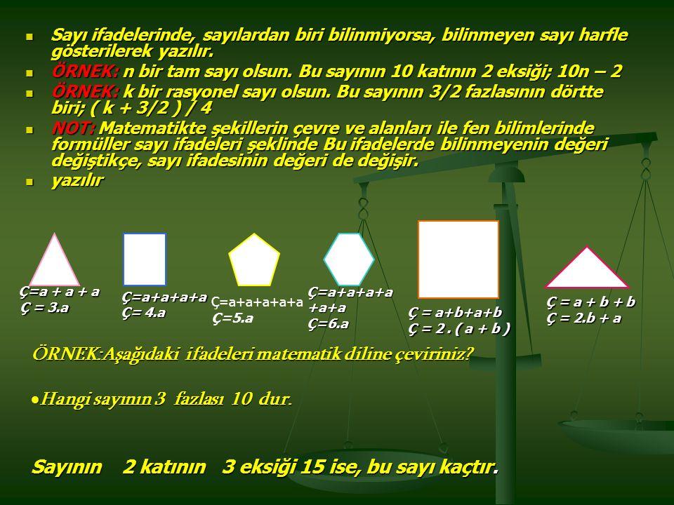 Sayı ifadelerinde, sayılardan biri bilinmiyorsa, bilinmeyen sayı harfle gösterilerek yazılır.