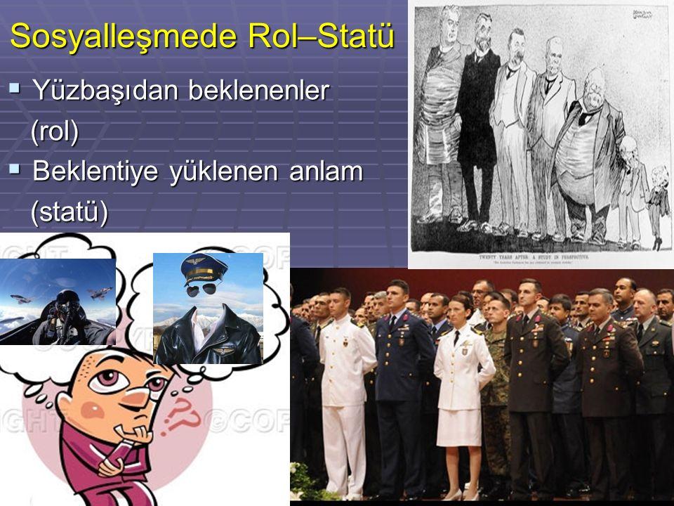 Sosyalleşmede Rol–Statü  Yüzbaşıdan beklenenler (rol) (rol)  Beklentiye yüklenen anlam (statü) (statü)