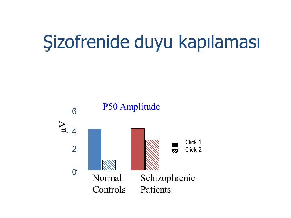 Şizofrenide duyu kapılaması Normal Controls Schizophrenic Patients 0 2 4 6 Click 1 Click 2 µV P50 Amplitude