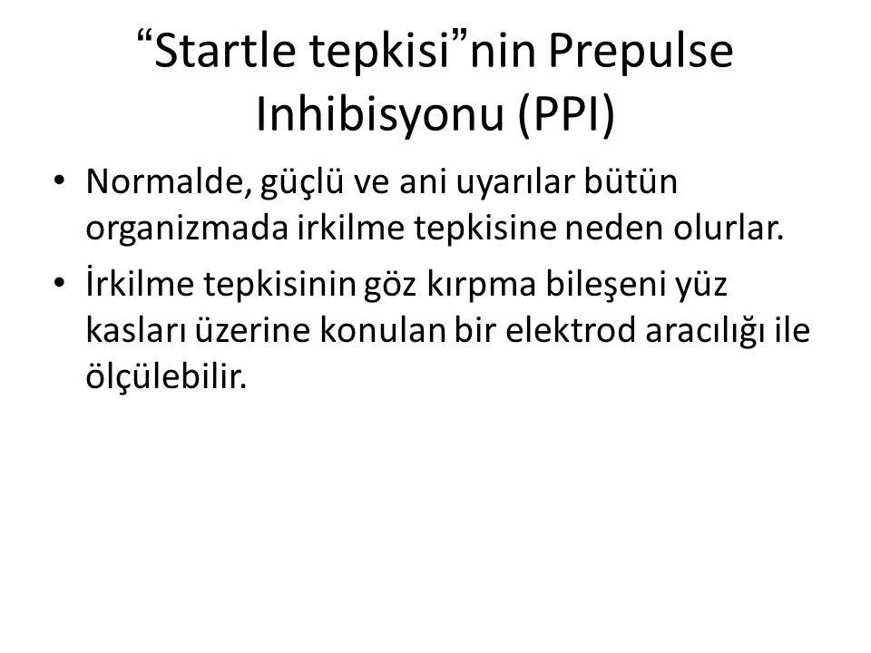 """"""" Startle tepkisi """" nin Prepulse Inhibisyonu (PPI) Normalde, güçlü ve ani uyarılar bütün organizmada irkilme tepkisine neden olurlar. İrkilme tepkisin"""