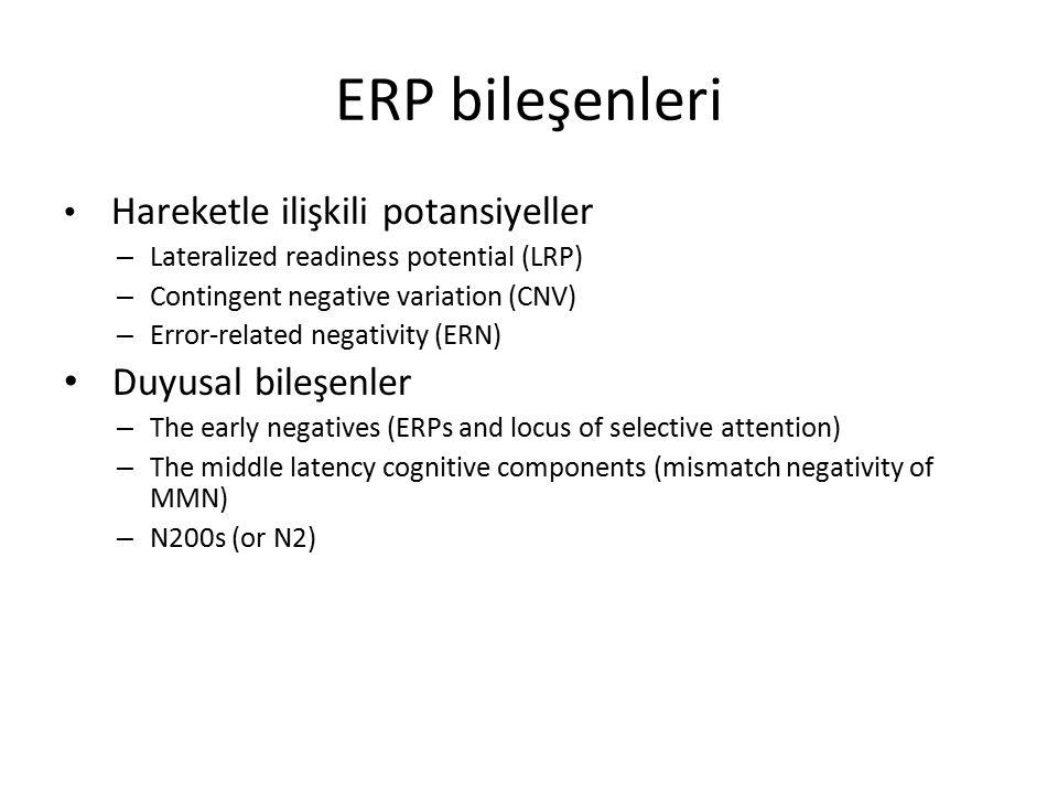 ERP bileşenleri Hareketle ilişkili potansiyeller – Lateralized readiness potential (LRP) – Contingent negative variation (CNV) – Error-related negativ