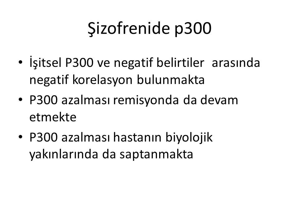Şizofrenide p300 İşitsel P300 ve negatif belirtiler arasında negatif korelasyon bulunmakta P300 azalması remisyonda da devam etmekte P300 azalması has