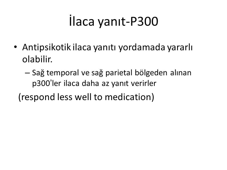 İlaca yanıt-P300 Antipsikotik ilaca yanıtı yordamada yararlı olabilir. – Sağ temporal ve sağ parietal bölgeden alınan p300 ' ler ilaca daha az yanıt v