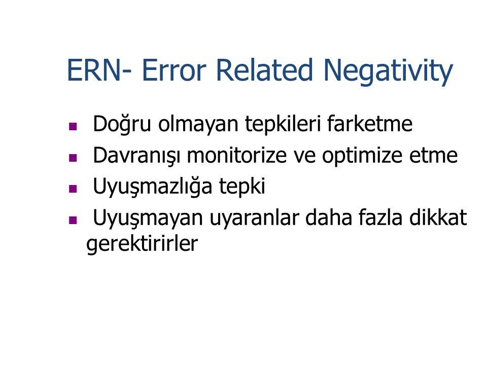ERN- Error Related Negativity Doğru olmayan tepkileri farketme Davranışı monitorize ve optimize etme Uyuşmazlığa tepki Uyuşmayan uyaranlar daha fazla