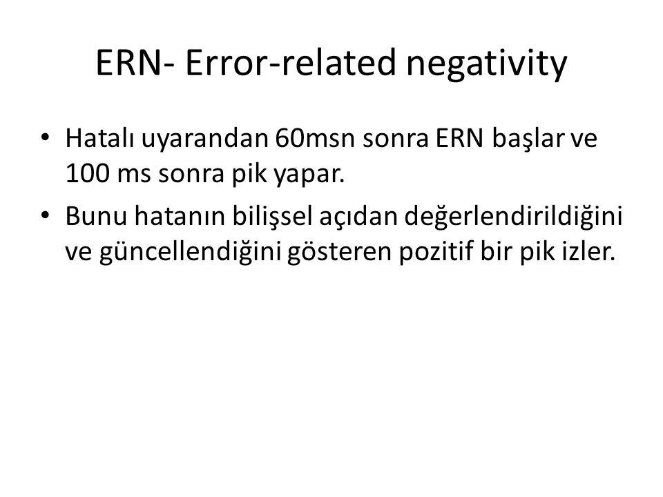 ERN- Error-related negativity Hatalı uyarandan 60msn sonra ERN başlar ve 100 ms sonra pik yapar. Bunu hatanın bilişsel açıdan değerlendirildiğini ve g