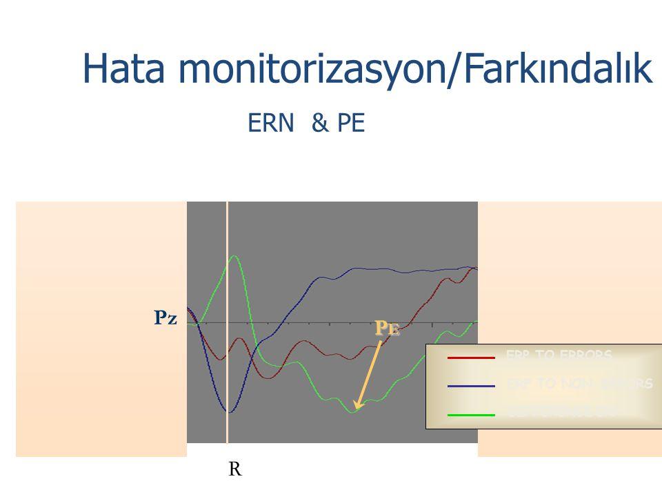 ERP TO ERRORS ERP TO NON-ERRORS DIFFERENCE ERP Pz Hata monitorizasyon/Farkındalık ERN & PE PEPEPEPE R