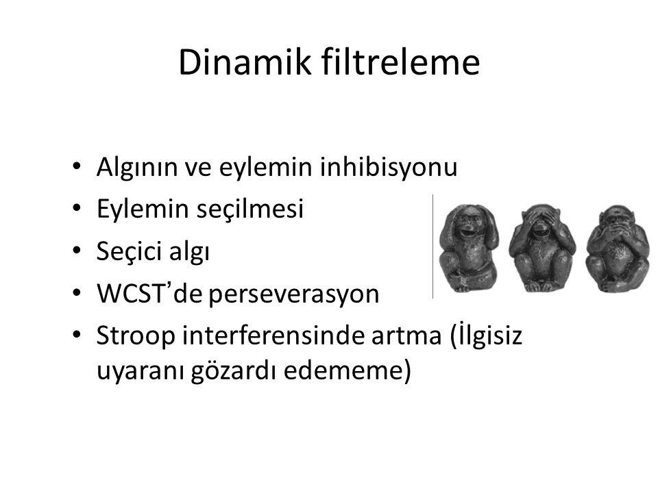 Dinamik filtreleme Algının ve eylemin inhibisyonu Eylemin seçilmesi Seçici algı WCST ' de perseverasyon Stroop interferensinde artma (İlgisiz uyaranı