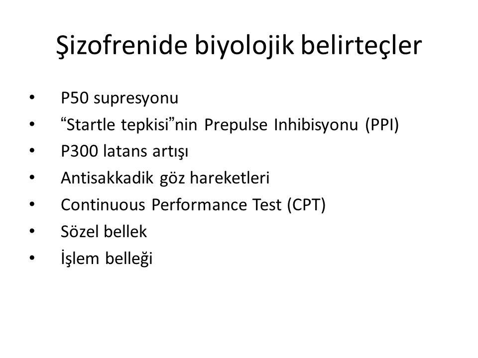 """Şizofrenide biyolojik belirteçler P50 supresyonu """" Startle tepkisi """" nin Prepulse Inhibisyonu (PPI) P300 latans artışı Antisakkadik göz hareketleri Co"""