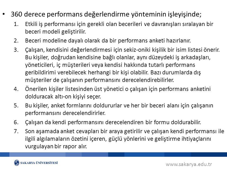 www.sakarya.edu.tr 360 derece performans değerlendirme yönteminin işleyişinde; 1.Etkili iş performansı için gerekli olan becerileri ve davranışları sı