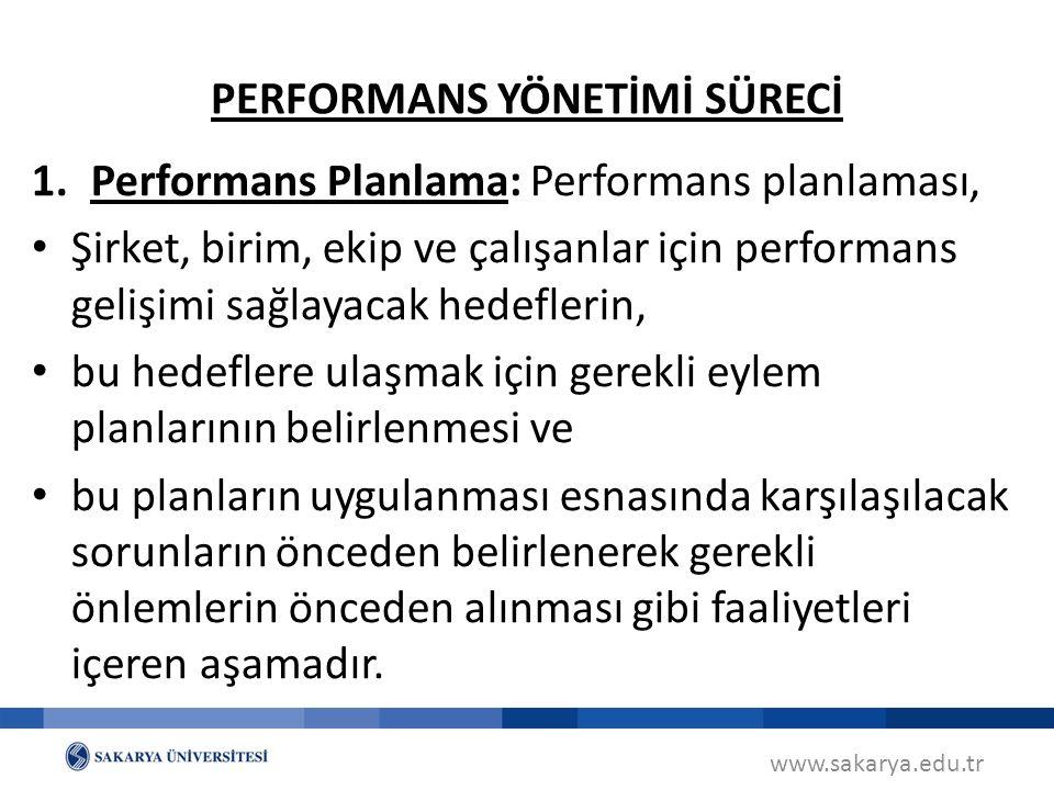 www.sakarya.edu.tr 1.Performans Planlama: Performans planlaması, Şirket, birim, ekip ve çalışanlar için performans gelişimi sağlayacak hedeflerin, bu