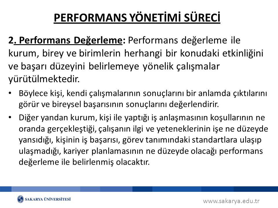 www.sakarya.edu.tr 2. Performans Değerleme: Performans değerleme ile kurum, birey ve birimlerin herhangi bir konudaki etkinliğini ve başarı düzeyini b