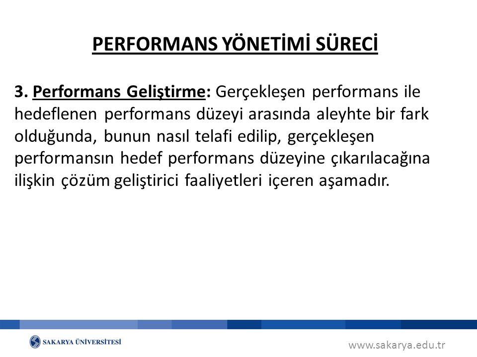 www.sakarya.edu.tr 3. Performans Geliştirme: Gerçekleşen performans ile hedeflenen performans düzeyi arasında aleyhte bir fark olduğunda, bunun nasıl