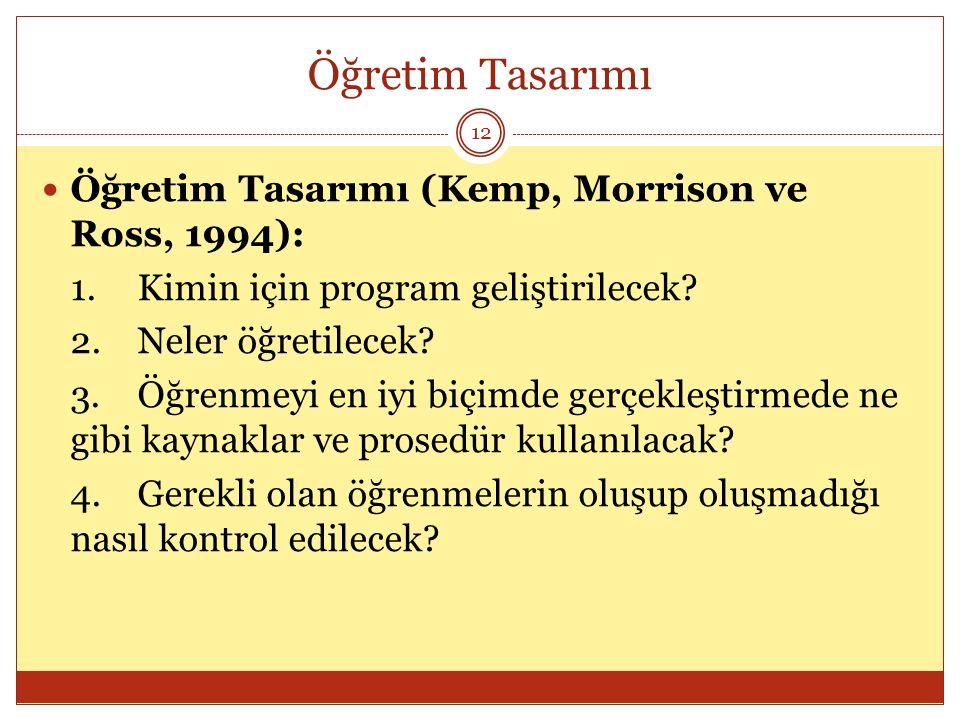 Öğretim Tasarımı 12 Öğretim Tasarımı (Kemp, Morrison ve Ross, 1994): 1.Kimin için program geliştirilecek? 2.Neler öğretilecek? 3.Öğrenmeyi en iyi biçi