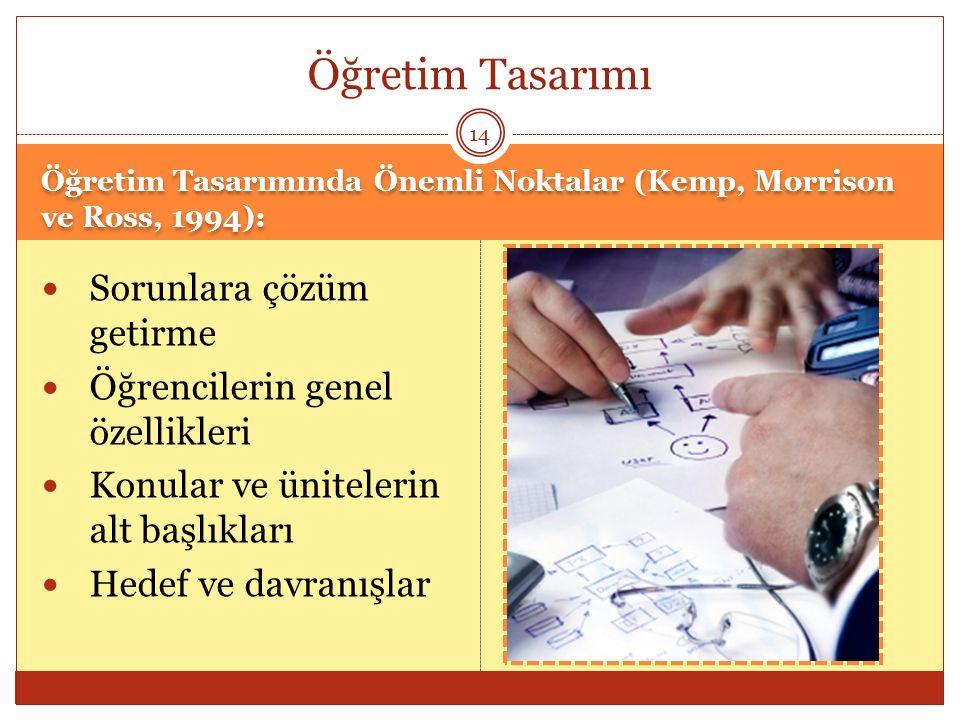 Öğretim Tasarımında Önemli Noktalar (Kemp, Morrison ve Ross, 1994): Sorunlara çözüm getirme Öğrencilerin genel özellikleri Konular ve ünitelerin alt b