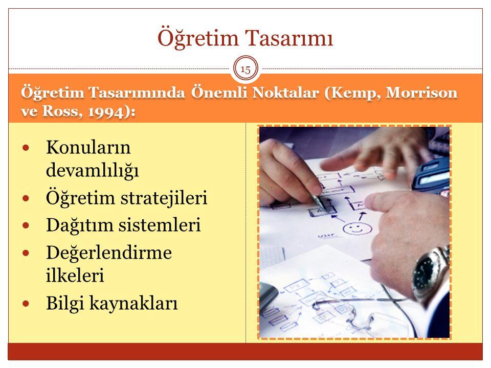 Öğretim Tasarımında Önemli Noktalar (Kemp, Morrison ve Ross, 1994): Konuların devamlılığı Öğretim stratejileri Dağıtım sistemleri Değerlendirme ilkele