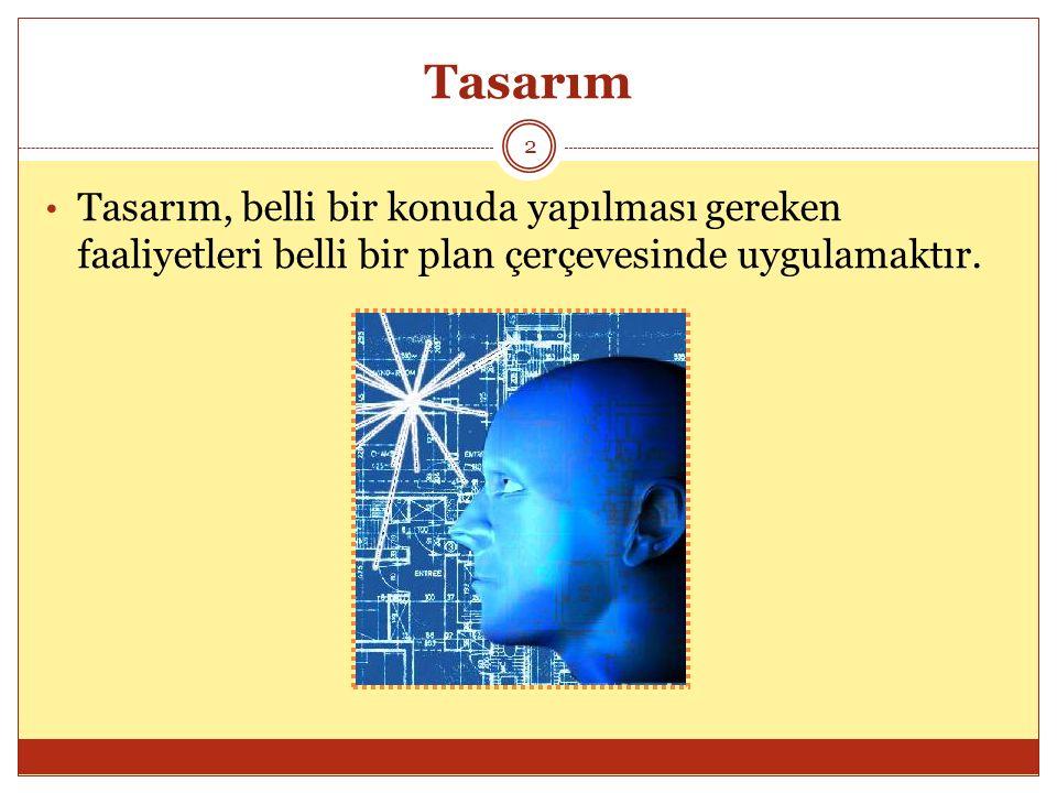 Öğretim Tasarımı 13 Öğretim tasarımı: 1.Bireysel ve grup öğrenmelerine, 2.