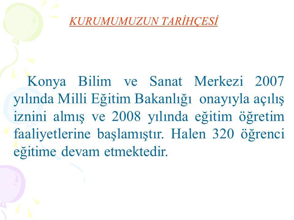 KURUMUMUZUN TARİHÇESİ Konya Bilim ve Sanat Merkezi 2007 yılında Milli Eğitim Bakanlığı onayıyla açılış iznini almış ve 2008 yılında eğitim öğretim faaliyetlerine başlamıştır.