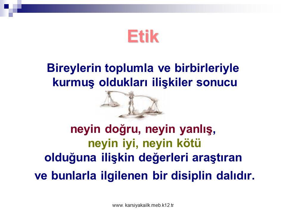 www. karsiyakailk.meb.k12.tr Etik Nedir? Etik terimi 'töre', 'karakter' anlamlarını içeren Yunanca ethos sözcüğünden türetilmiştir. Aksiyoloji dalı ol