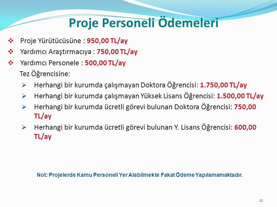 Proje Personeli Ödemeleri  Proje Yürütücüsüne : 950,00 TL/ay  Yardımcı Araştırmacıya : 750,00 TL/ay  Yardımcı Personele : 500,00 TL/ay Tez Öğrencisine:  Herhangi bir kurumda çalışmayan Doktora Öğrencisi: 1.750,00 TL/ay  Herhangi bir kurumda çalışmayan Yüksek Lisans Öğrencisi: 1.500,00 TL/ay  Herhangi bir kurumda ücretli görevi bulunan Doktora Öğrencisi: 750,00 TL/ay  Herhangi bir kurumda ücretli görevi bulunan Y.