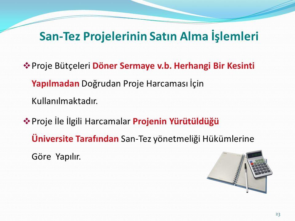 San-Tez Projelerinin Satın Alma İşlemleri  Proje Bütçeleri Döner Sermaye v.b.