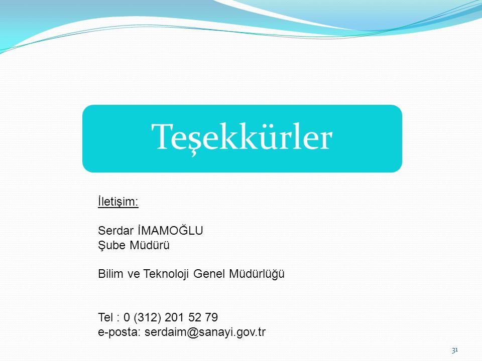 Teşekkürler İletişim: Serdar İMAMOĞLU Şube Müdürü Bilim ve Teknoloji Genel Müdürlüğü Tel : 0 (312) 201 52 79 e-posta: serdaim@sanayi.gov.tr 31