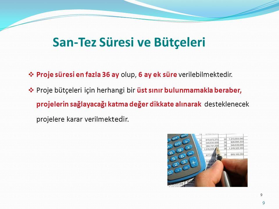 San-Tez Projelerinde Önemli Hususlar Proje konusu-Firmanın faaliyet alanı-yürütücünün akademik alanı uyumlu olmalı, Projenin amacı, hedefi, Ar-Ge ve inovasyon niteliği somut, net ve kısa yazılmalı, Proje bütçesi belirlenirken piyasada hizmet alımı ile yapılacak işler için takım-tezgah v.b.