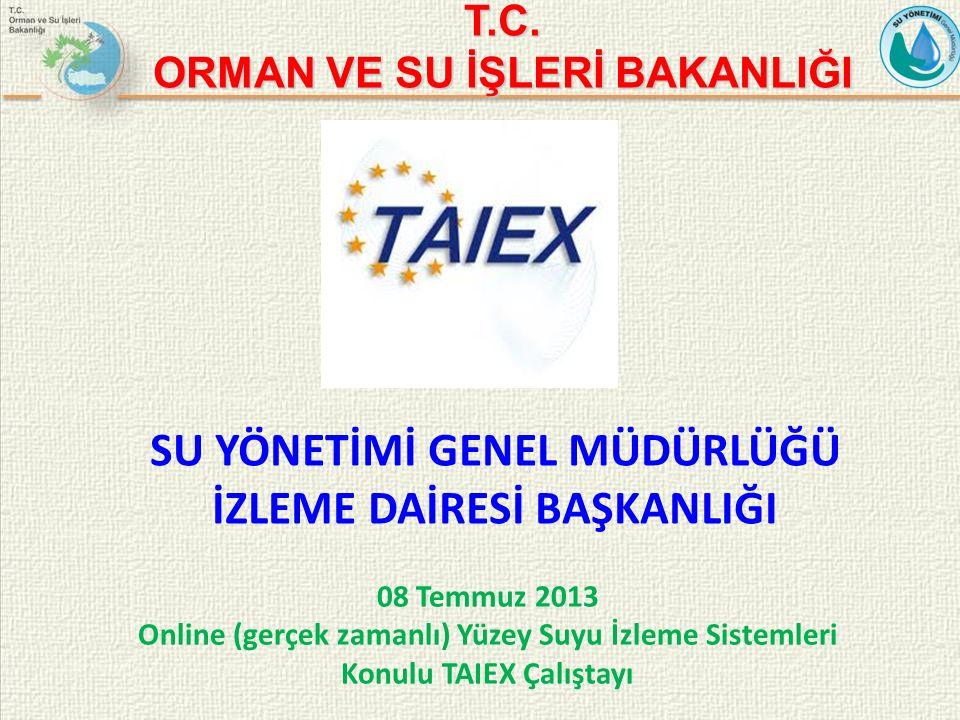 08 Temmuz 2013 Online (gerçek zamanlı) Yüzey Suyu İzleme Sistemleri Konulu TAIEX Çalıştayı T.C.