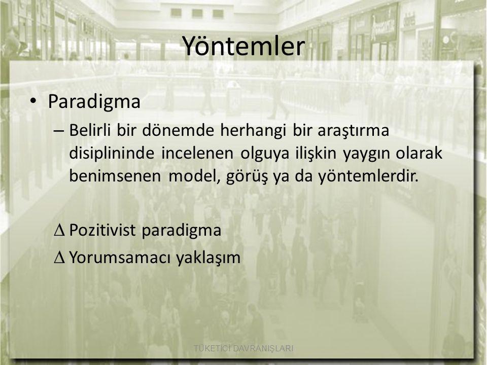 Yöntemler Paradigma – Belirli bir dönemde herhangi bir araştırma disiplininde incelenen olguya ilişkin yaygın olarak benimsenen model, görüş ya da yön