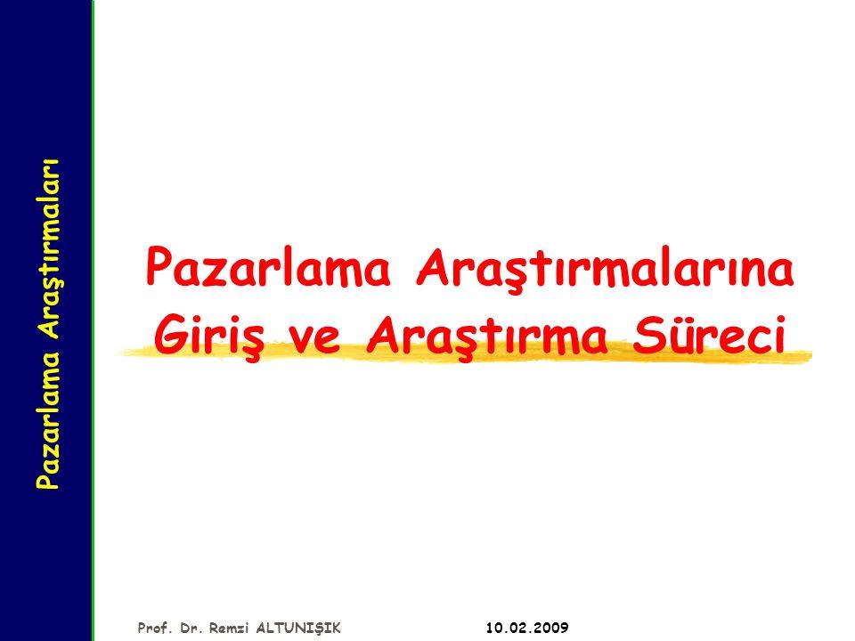 Pazarlama Araştırmaları 10.02.2009 Prof. Dr. Remzi ALTUNIŞIK Pazarlama Araştırmalarına Giriş ve Araştırma Süreci