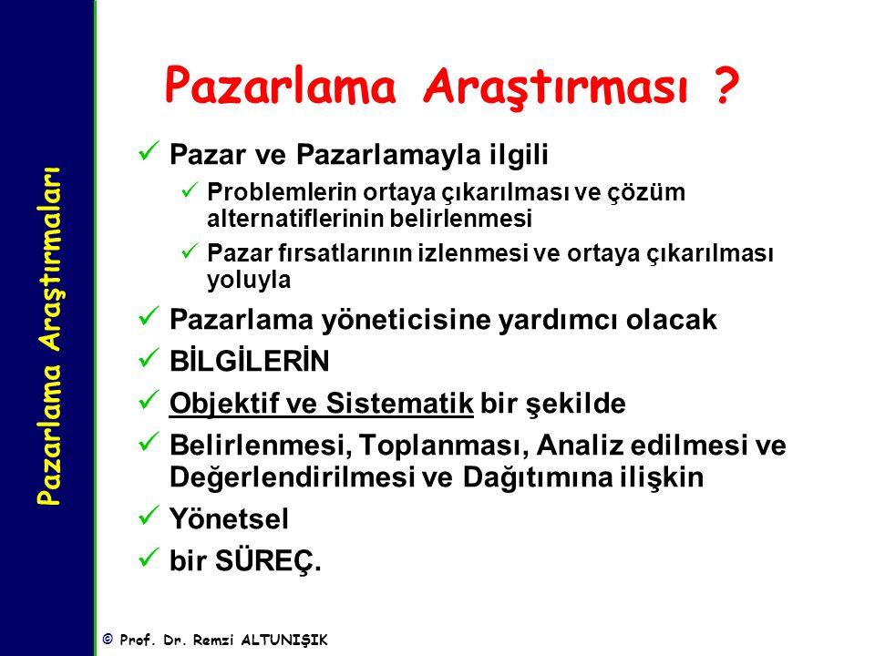 Pazarlama Araştırmaları © Prof.Dr. Remzi ALTUNIŞIK AMA'ya Göre Pazarlama Araştırmalarının Tanımı.