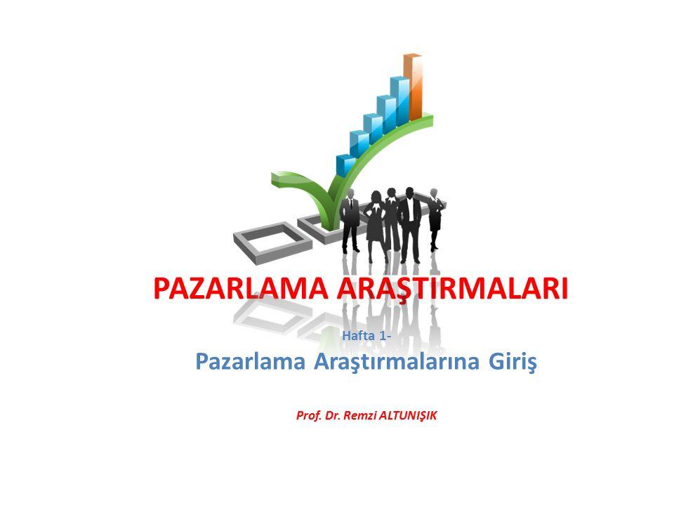 PAZARLAMA ARAŞTIRMALARI Hafta 1- Pazarlama Araştırmalarına Giriş Prof. Dr. Remzi ALTUNIŞIK