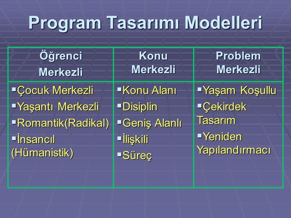 Program Tasarımı Modelleri ÖğrenciMerkezli Konu Merkezli Problem Merkezli  Çocuk Merkezli  Yaşantı Merkezli  Romantik(Radikal)  İnsancıl (Hümanist