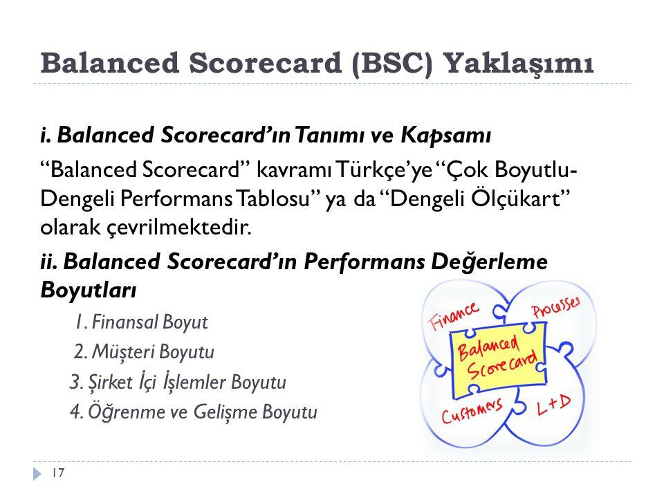 Balanced Scorecard (BSC) Yaklaşımı i.