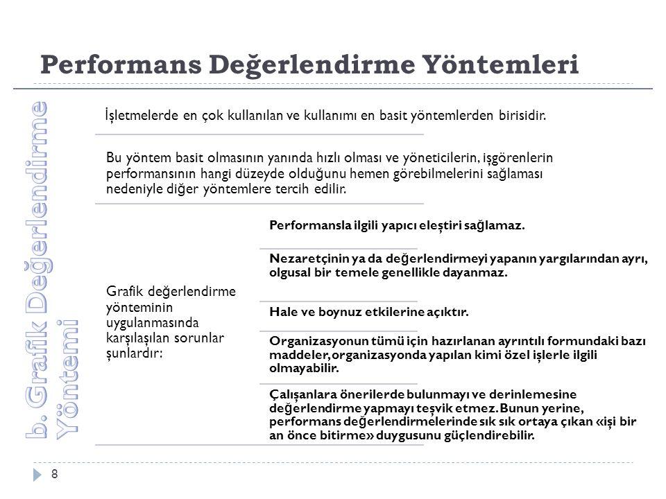 Performans Değerlendirme Yöntemleri 8 İ şletmelerde en çok kullanılan ve kullanımı en basit yöntemlerden birisidir.