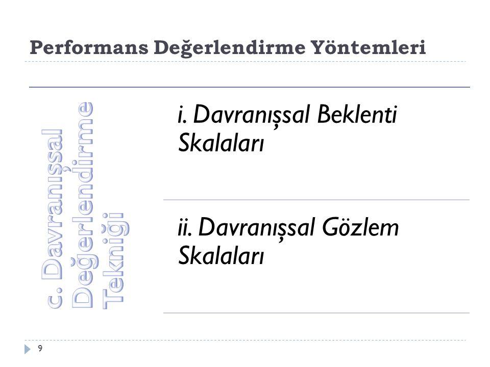 Performans Değerlendirme Yöntemleri 9 i.Davranışsal Beklenti Skalaları ii.