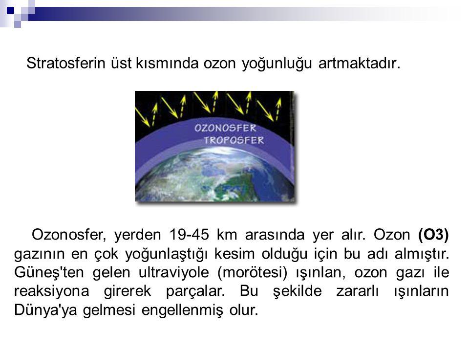 Stratosferin üst kısmında ozon yoğunluğu artmaktadır. Ozonosfer, yerden 19-45 km arasında yer alır. Ozon (O3) gazının en çok yoğunlaştığı kesim olduğu