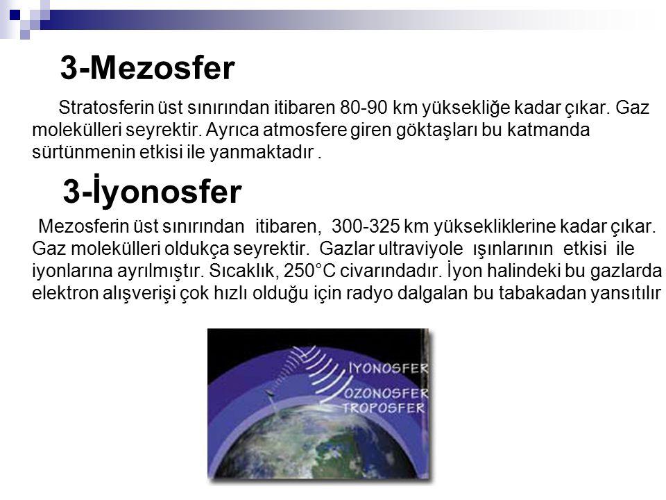 3-Mezosfer Stratosferin üst sınırından itibaren 80-90 km yüksekliğe kadar çıkar. Gaz molekülleri seyrektir. Ayrıca atmosfere giren göktaşları bu katma