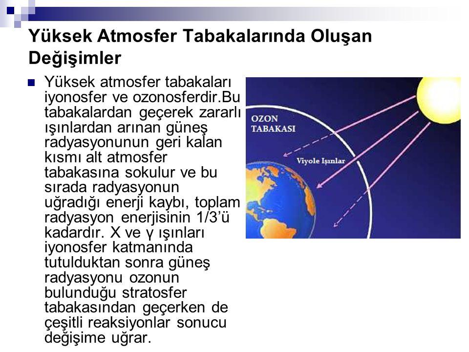 Yüksek Atmosfer Tabakalarında Oluşan Değişimler Yüksek atmosfer tabakaları iyonosfer ve ozonosferdir.Bu tabakalardan geçerek zararlı ışınlardan arınan