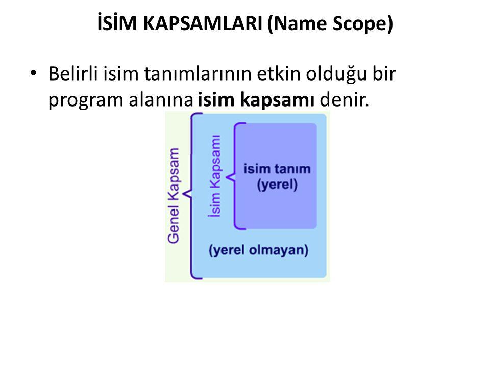 İSİM KAPSAMLARI (Name Scope) Belirli isim tanımlarının etkin olduğu bir program alanına isim kapsamı denir.