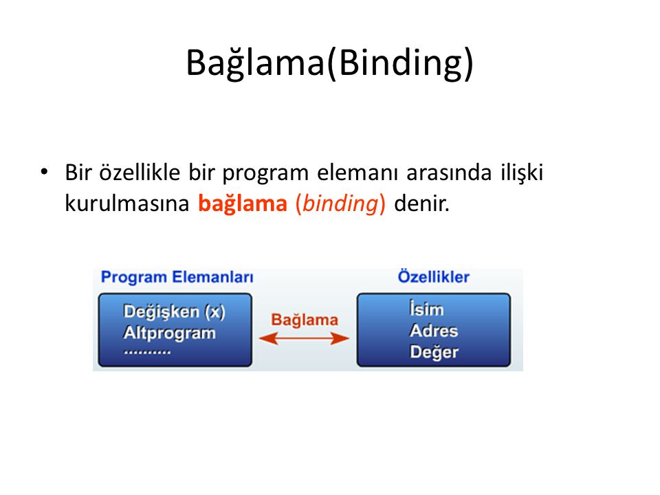 Çeşitli programlama dilleri, özelliklerin program elemanlarına bağlanma zamanı ve bu özelliklerin durağan (static) veya dinamik (dynamic) olması açısından farklılıklar göstermektedir.