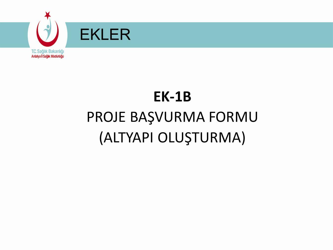 EKLER EK-1B PROJE BAŞVURMA FORMU (ALTYAPI OLUŞTURMA)