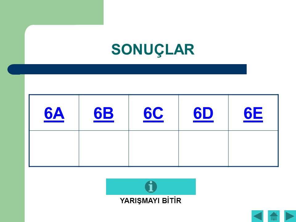 SONUÇLAR 6A6B6C6D6E YARIŞMAYI BİTİR
