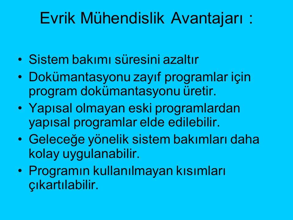 Evrik Mühendislik Avantajarı : Sistem bakımı süresini azaltır Dokümantasyonu zayıf programlar için program dokümantasyonu üretir.